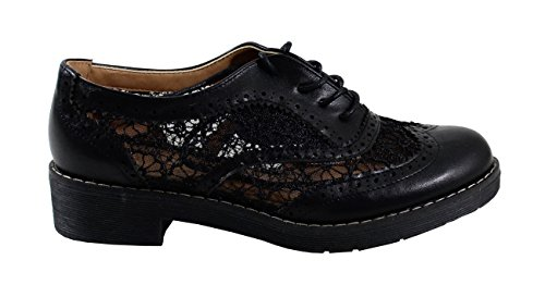 Femme Black Cuir Dentelle Style By Shoes avec Derbies wxq4nUYH