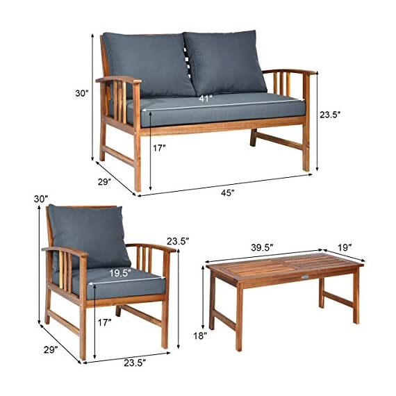 Tangkula 4 PCS Wood Patio Furniture Set, Outdoor Seating Chat Set with Gray Cushions & Back Pillow, Outdoor Conversation Set with Coffee Table, Ideal for Garden, Backyard, Poolside (Wood) - ☀️ Sturdy & Durable Frame☀️ : The frame of set is made of premium acacia wood which ensures the sturdiness and durability. And the set is not easy to deform and crack so that the set will provide long time service. With no peculiar smell and clear varnish on the wood, the frame is waterproof and the beauty can be kept for long time. ☀️ Ergonomic Design of Sofa ☀️ : Designed with slightly sloping backrest and curved handrails, the single chair and loveseat is very comfortable for relaxing yourself. With thick and soft cushions, it will also add comfort. And the seat cushions can be fixed on the slat of chair with strings. You don't need to worry about moving of cushion. ☀️ Multipurpose 4-piece Furniture☀️ : Our furniture set which includes 4 pieces can be combined in various ways or be used separately according to your different needs. You can enjoy good time with your family to drink, eat or chat. The set is ideal for your garden, patio, balcony, poolside and backyard to be a perfect décor. - patio-furniture, patio, conversation-sets - 411bPdgbn3L. SS570  -