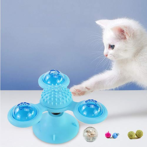 [2020 New] Windmill Cat Toy Interactive Cat Catnip Toy for Indoor Cats,Kitten Toys Cat Toothbrush Toy Cats Hair Brush…
