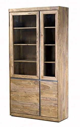 SAM® Vitrine II Senso aus Sheesam Holz 2 Glastüren und 2 Holztüren geölte Oberfläche