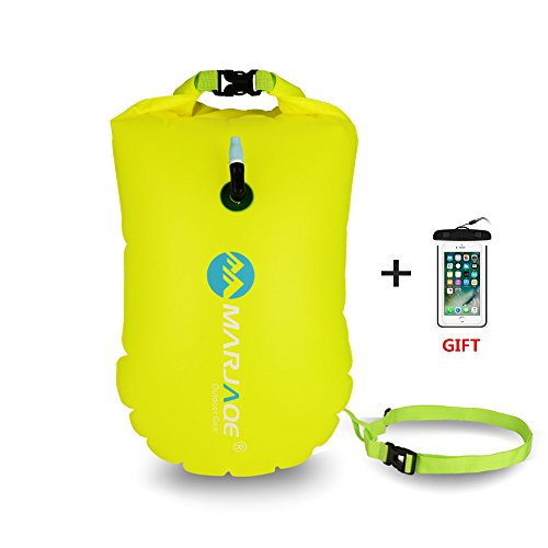 Jansite Open Water Swim Buoy 28L with Dry Bag and Waterproof Phone Case, Open Water Inflatable Swim Bubble Float for Swimmers, Triathletes, Snorkelers, and Safe Swim ...