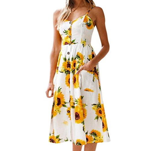 Mr.Macy 2018 New Fashion Womens Sleeveless Sunflower Print Sling Pocket Dress Party Dress Mini Dress (S, Yellow)