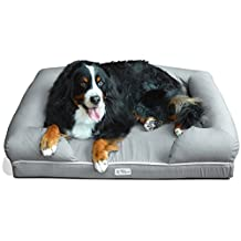 """PetFusion Ultimate Dog Bed & Lounge. (X-Large Slate Gray, 44 x 34 x 10""""). Premium Edition w/ Solid 4"""" Memory Foam"""
