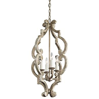 kichler lighting 43255daw hayman bay 4 light foyer pendant distressed antique white finish antique white pendant lighting