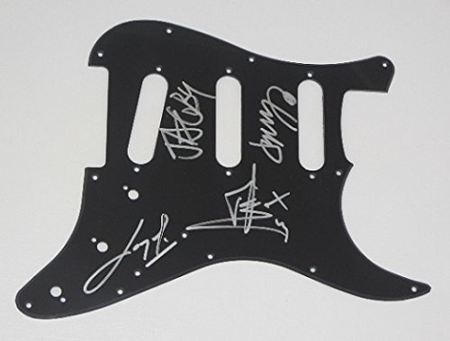 Papa Roach Infest Group Signed Autographed Ebony Fender Stratocaster Electric Guitar Pickguard ()