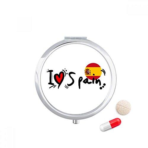 I Love Spain Word Flag Love Heart Illustration Travel Pocket Pill case Medicine Drug Storage Box Dispenser Mirror Gift by DIYthinker