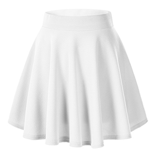 Urban CoCo Women's Basic Versatile Stretchy Flared Casual Mini Skater Skirt (XS, White)