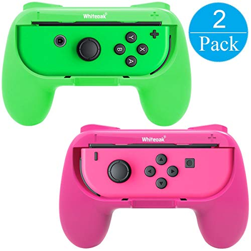 Whiteoak Joy-Con Grip, [Upgraded Version] Durable Joy-con Handle Controller Grip Kit for Nintendo Switch, 2 Pack (Green+Pink)
