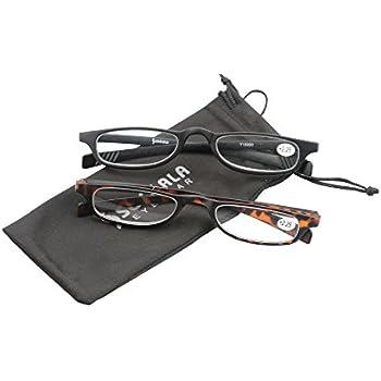 9e5d4ee2406 SOOLALA 2 Pairs Lightweight Designer Stylish Flat Top Rectangular Slim Reading  Glasses