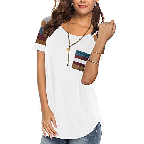 HUHHRRY Women Casual Short Sleeve Striped Shirts Tee Fall Clothing Tunic Tops Blouses Medium White ...