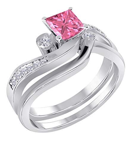(Star Retail 1.00ct Cz Diamond & Pink Sapphire Princess Cut Created White Sapphire Bridal Ring Set, 2 Piece Alloy in Engagement Wedding Ring Bridal Set 7)