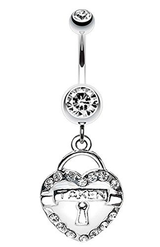 Jeweled Heart Lock Charm Dangle Belly Button Ring - 14 GA (1.6mm) - White - Sold - Heart Jeweled Lock