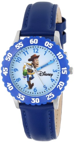 Disney Kids' W000062 'Time Teacher' Toy Story 3 Woody Stainless Steel Watch With Blue Leather Band