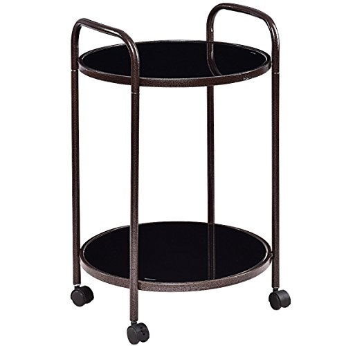 Giantex 2 Tier Round Kitchen Trolley, Utility Dining Bar Cart, Rolling Storage Serving Sart With Locking Wheels, Black (Bar Dining For Room Cart)