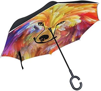 Alaza Double Layer Inverted傘Cars逆傘犬カラフルなペイント防風UVプルーフ旅行アウトドア傘