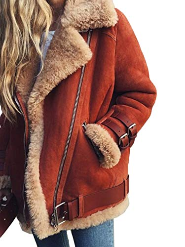 CHOiES record your inspired fashion Women's Faux Suede Shearling Laple Jacket Zipper Belted Suede Moto Coat with Pockets Red-s