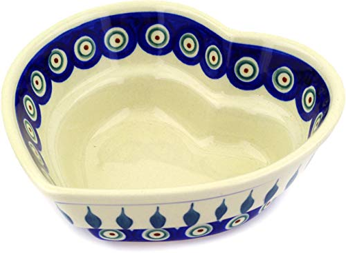 - Polish Pottery 6-inch Heart Shaped Bowl (Peacock Leaves Theme) + Certificate of Authenticity