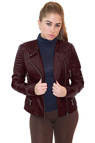 Olivia Miller Womens Faux Leather Zip up Moto Biker Jacket JK5207S Burgundy ()