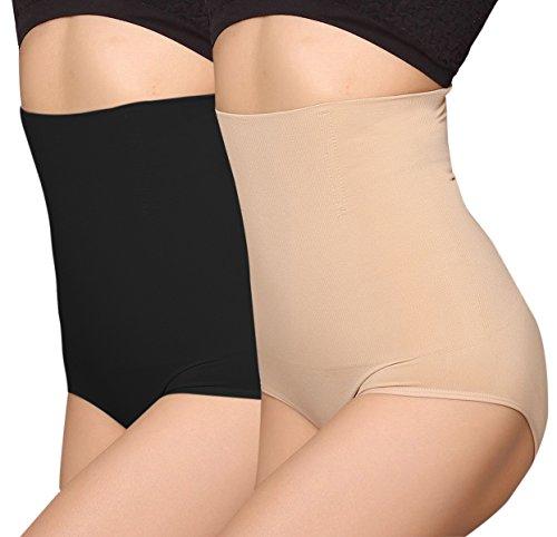 iLoveSIA Women's Hi-Waist Control Underwear with Waist Cincher Shapewear 2-4 Black+Nude