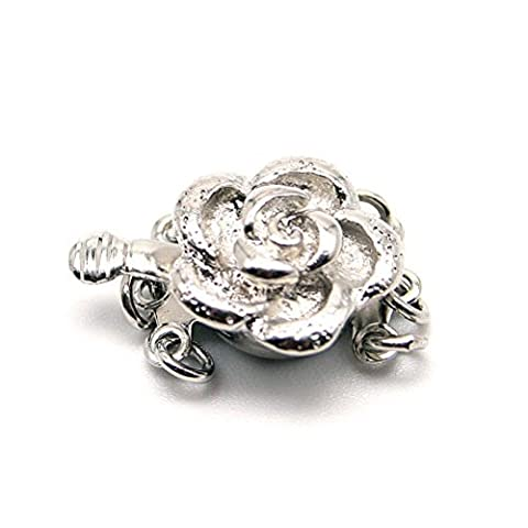 Beautiful Bead Rose 3 Strand Box Clasps for Jewelry Making Silver Color - Coral 3 Strand Necklace