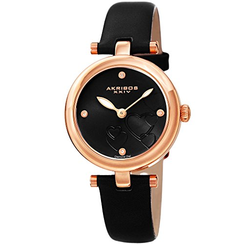 Gold Diamond Black Dial (Akribos XXIV Women's Diamond Accented Heart Engraved Dial Rose Gold & Black Leather Strap Watch - Packed in a Beautiful Gift Box, Perfect for Mothers Day- AK1044BKR)