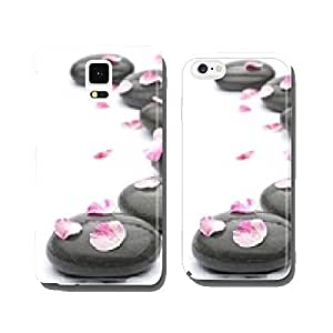 Spa stones with rose petals on white background. cell phone cover case iPhone6 Plus