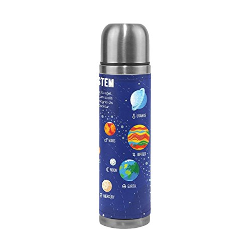 Cool-custom Stainless Steel Water Bottle Double Wall Vacuum Cup Insulated PU Leather Travel Mug 17 oz Solar System Sun Planet by Cool-custom