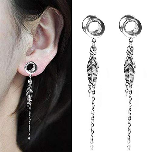"Qmcandy 1 Pair 9/16"" Stainless Steel Screw Ear Tunnels Stretcher Piercing"