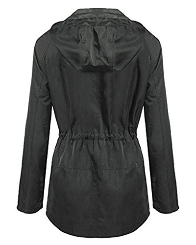 Coat Capucha Gris Chaqueta Mangas Rompevientos con Abrigo Jacket Largas Mujer Impermeable A8tqvnd8a