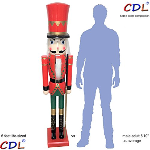 CDL 6ft tall life-size large/giant red Christmas wooden nutcracker soldier ornament on stand hold ceremonial gun Xmas/event/ceremonies/commercial indoor outdoor decoration K05