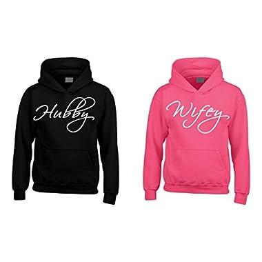 Shop4Ever® Couple Hubby Wifey Hoodie -- Men Medium Black **//** Women Medium Pink