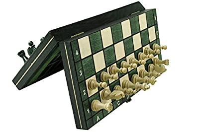 GREEN Magnetic Wooden Tournament Travel Chess Set - Medium