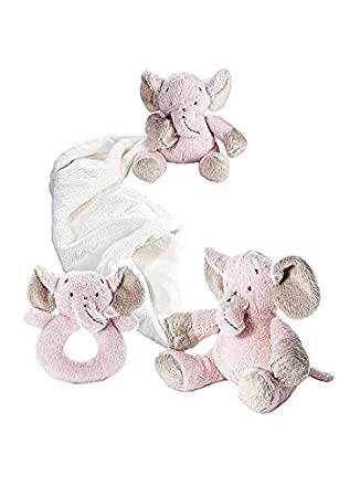 Juguetes de animales de peluche elefante rosa de bebé niña doudou y sonajero set de regalo