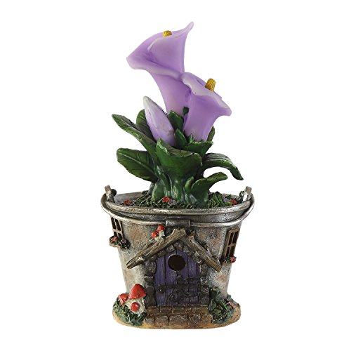 Cypress Refresh Fairy House Garden Statuary Solar Powered Statue Pot Plant,Purple Flower Review