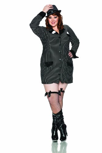 Sexy Pinstripe Gangster Costumes (Delicious Allie Capone Costume, Black/White, 1X)