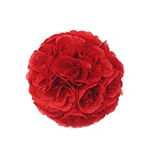 Elegant 10 Inch Satin Flower Ball for Wedding Party Ceremony Decoration (Red) 4