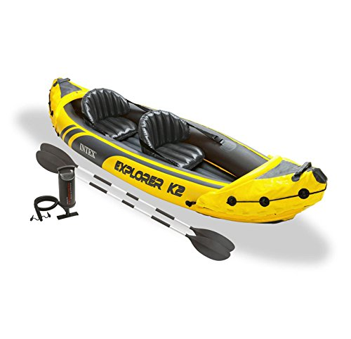 Kayak Boat Inflatable with Aluminum Oars & Air Pump Yellow 2 Person Water Craft Vinyl with Seats & Backrest Comfortable Stable & Sturdy with Handles Portable - Skroutz Deals