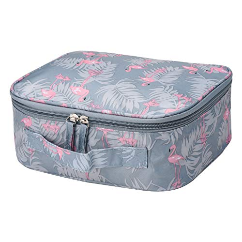 Makeup Organizer Bag,Portable Travel Cosmetic Toiletry Case for Women by SKYNEW,Blue Flamingo -