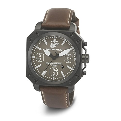 Wrist Armor Men's WA147G C4 Stainless Steel Analog Display Swiss Quartz Watch with Brown Leather Strap