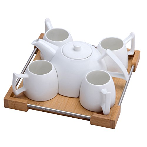 Porcelain Coffee Cups Set - White Ceramic Teapot for Drinking Tea,Latte,Espresso,Juice,or Water Including Tea Pot,4 Cups,Bamboo Serving Tray
