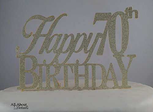 Price comparison product image All About Details Gold Happy-70th-birthday Cake Topper