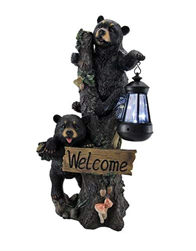 Little Rascals Tree Climbing Black Bear Cubs Solar Light Lamp Welcome Figurine B1