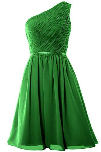 MACloth Women One Shoulder Chiffon Short Bridesmaid Dress Wedding Party Gown Verde