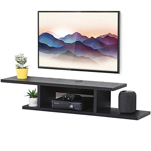 Floating Wall Mounted TV Console, Wall Mounted Media Console,Floating TV Stand Component Shelf Black (Component Console)