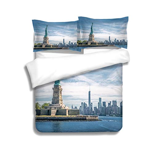 (MTSJTliangwan Family Bed The Statue of Liberty and Manhattan New York City 3 Piece Bedding Set with Pillow Shams, Queen/Full, Dark Orange White Teal Coral)