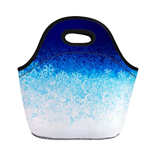 Semtomn Neoprene Lunch Tote Bag Icy Blue Ice Frost Effect Water Glass Pattern Window Reusable Cooler Bags Insulated Thermal Picnic Handbag for Travel,School,Outdoors, ()