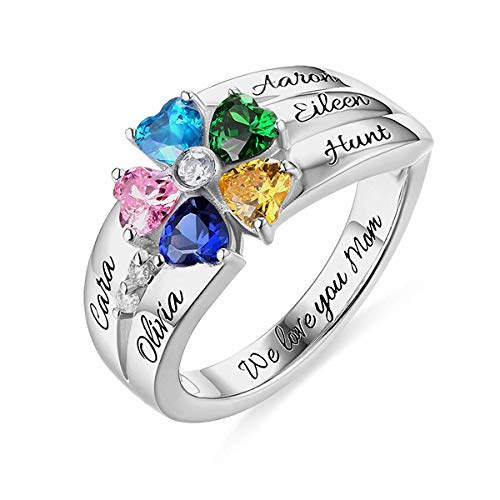 (Mothers Rings with 5 Birthstones and 5 Names Personalized Sterling Silver Grandmother Ring for Family)