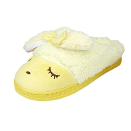 Sunfei Donne Morbide Calde Coperte Di Cotone Bowknot Pantofole Casa Antiscivolo Scarpe Gialle