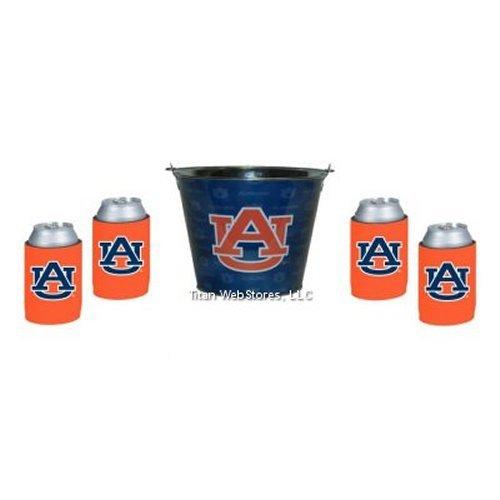 NCAA Auburn - Beer Bucket & Neoprene Can Insulator (4) Set | Auburn Tigers Beer Bucket Gift Set