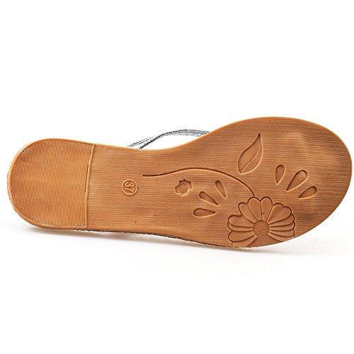 Aerusi Womess Flax Straw Rhinestone Flip Flop Sandals Silver A63co